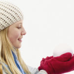 冬着の女性